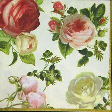3 x Single Paper Napkins Decoupage Craft Tissue Aged Garden Roses Flowers M183
