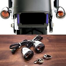 Rear Bullet Smoked Turn Signals&Short Bracket For Harley Softail Dyna Sportster