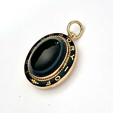 Antique Victorian Enamel Banded Agate Gold Mourning Locket Pendant: In Memory Of