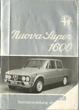 ALFA ROMEO NUOVA SUPER 1600 Betriebsanleitung 1974 GIULIA Bedienungsanleitung BA