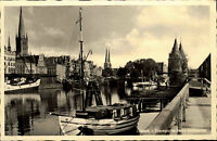 Lübeck Schleswig Holstein s/w Postkarte ~1940 Travepartie beim Holstentor Boote
