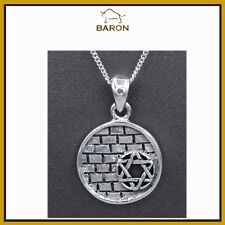 STAR OF DAVID WESTERN WALL PENDANT STERLING SILVER JEWISH SYMBOL JERUSALEM STAR