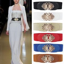 Womens Gemstone Elastic Buckle Corset Waistband Stretch Wide Waist Dress Belts