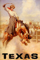 TEXAS RODEO BRONC RIDING HORSE COWGIRL SPORT USA VINTAGE POSTER REPRO