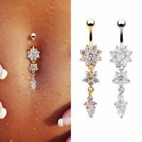 1PC Rhinestone Dangle Crystal Navel Belly Button Bar Rings Body Piercing Jewelry