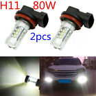 2X H11 80W Top Super Bright LED White Fog Tail Turn DRL Head Car Light Lamp Bulb