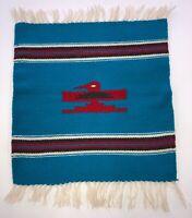 """Mexican Saltillo Serape Bird Textile 19""""x 14.5"""""""