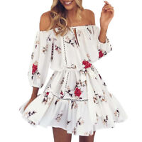 Womens Summer Off Shoulder Floral Print Sundress Party Beach Short Mini Dress AU