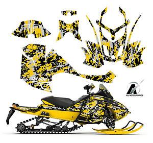 Ski Doo REV XR GSX Renegade MXZ 1200 graphic kit wrap 2007-15 Yellow Digit Camo