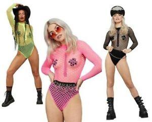 Long Sleeve Zipped Bodystocking Ladies Festival Bodysuit Carnival 80s Fancy Dres