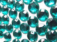 120 Emerald Dark Turquoise Beads Acrylic Rhinestone Gem 12mm Flatback 2-Hole Sew