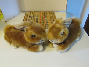 Large Bunny Slippers Adult Size Medium No Slip Bottoms.