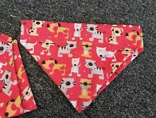 Slide on dog bandana size XS in red with dogs and cats on .  polycotton