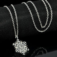 Silver Frozen Xmas Crystal Snowflake Pendant Chain Necklace Charm Christmas Gift