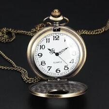 Antique Stainless Steel Full Hunter Pocket Watch Quartz Necklace Chain Men Women