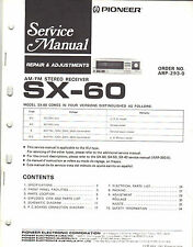 PIONEER SX-60 RECEIVER SERVICE MANUAL ORIGINAL FACTORY ISSUE USED CONDITION