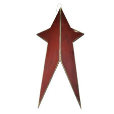 Five Point Painted Long Wooden Star, Burgundy, 24-Inch