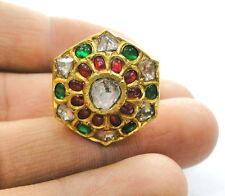 ruby precious Gemstones ring india Vintage antique 20K Gold Diamond polki
