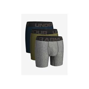 Men's Under Armour Tech 6 Boxerjock Boxer Shorts 3-Pack Grey/Navy/Green M