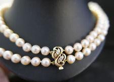 Perlenkette zweireihig Perlen Perlencollier 585er Gelbgold Verschluss Brillanten