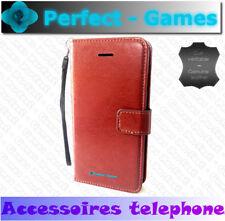 iPhone 7 coque housse etui cover folio case cuir leather véritable marron brown