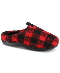 Isotoner Men's Berber Owen Plaid Hoodback Slippers Festive Red Size M 8-9