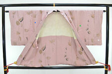 De Colección Chaqueta haori kimono de seda: Gris Encantador Rosa/lame hojas de resorte