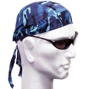 Mens Fitted Bandana Zandana Headscarf Wrap Easy Tie Blue Camouflage