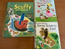 3 Vintage Little Golden Books Tawny Scrawny Lion, Scuffy, Please and Thank you