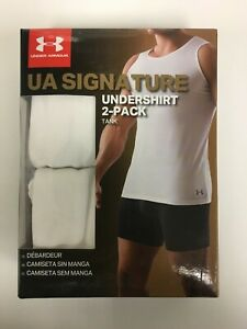 New Men's UA Under Armour Core Tank Top 2-Pack Undershirt White MSRP $35