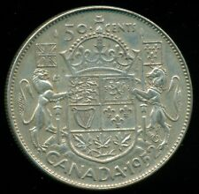 1952 Doubled HP Canada King George VI, Silver Fifty Cent Piece  L27