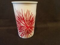 Starbucks - White Coffee Mug Cup with Red Starburst Flower Fireworks 12 oz. 2014