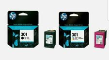 2  BRAND NEW  ORIGINAL  HP 301 BLACK / TRI COLOUR  INK CARTRIDGES COMBO TWIN
