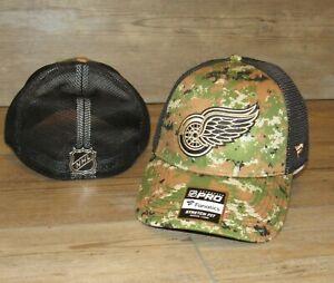 Fanatics Detroit Red Wings Authentic Pro Camo Mesh Flex Fitted Hat Cap Men's M/L