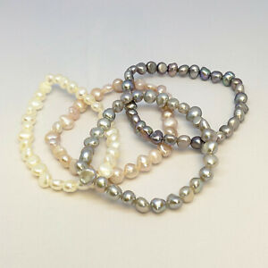 Freshwater pearl elasticated bracelet, 6-7mm baroque nugget pearls, in 4 colours