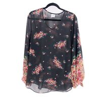 CAbi #3594 Blooming Blouse Sheer Black Floral V-Neck Medium Long Sleeve