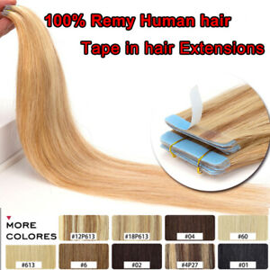 """CLEARANCE Tape in Soft Remy Human Hair Extensions Full Head Skin Weft 10-24"""" ttt"""