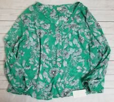 2X Plus Floral Green White Blouse Button Long Sleeve Sheer Cute a new day New