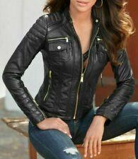 Womens Leather Jacket Genuine Lambskin Real Biker Motorcycle Slim Fit Coat Black