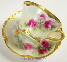 BEAUTIFUL LIMOGES HAVILAND HAND PAINTED ROSES CUP & SAUCER