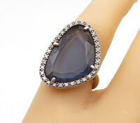 925 Sterling Silver - Vintage Blue & White Topaz Cocktail Ring Sz 7.5 - R15367