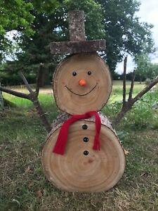 Handmade Large Log wooden snowman log Christmas wood natural decoration