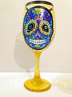 BEAUTIFUL HAND-PAINTED SUGAR SKULL WINEGLASS 20 oz.