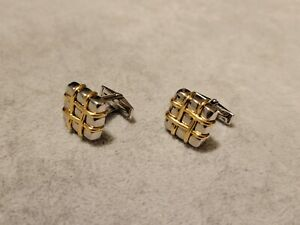 D&G Dolce and Gabbana ? 14k Gold Sterling Silver Square Modernist Box Cufflinks