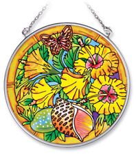 """Hibiscus Heaven Sun Catcher Amia 4.5"""" Round Hand Painted Glass New Butterfly"""