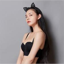Halloween Black Lace Cat Ears Fancy Dress Costume Headband Festival Hen Night FI