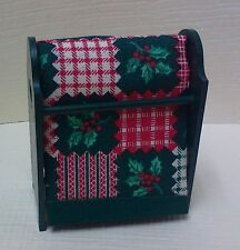 Dollhouse Miniature Handcrafted Green Wood quilt rack w/ Christmas quilt 1:12