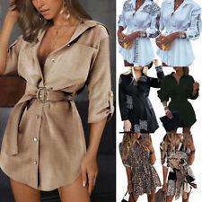 Damen V-Neck Business Minikleid Freizeitkleid Hemdkleid Longtop Longshirt Tunika