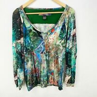 Desigual Size Medium Long Sleeve Peasant Top Shirt Blouse Multi-Color