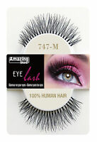 Amazing Shine 100% Human Hair False Eyelashes 664 - 747M Long Natural Black